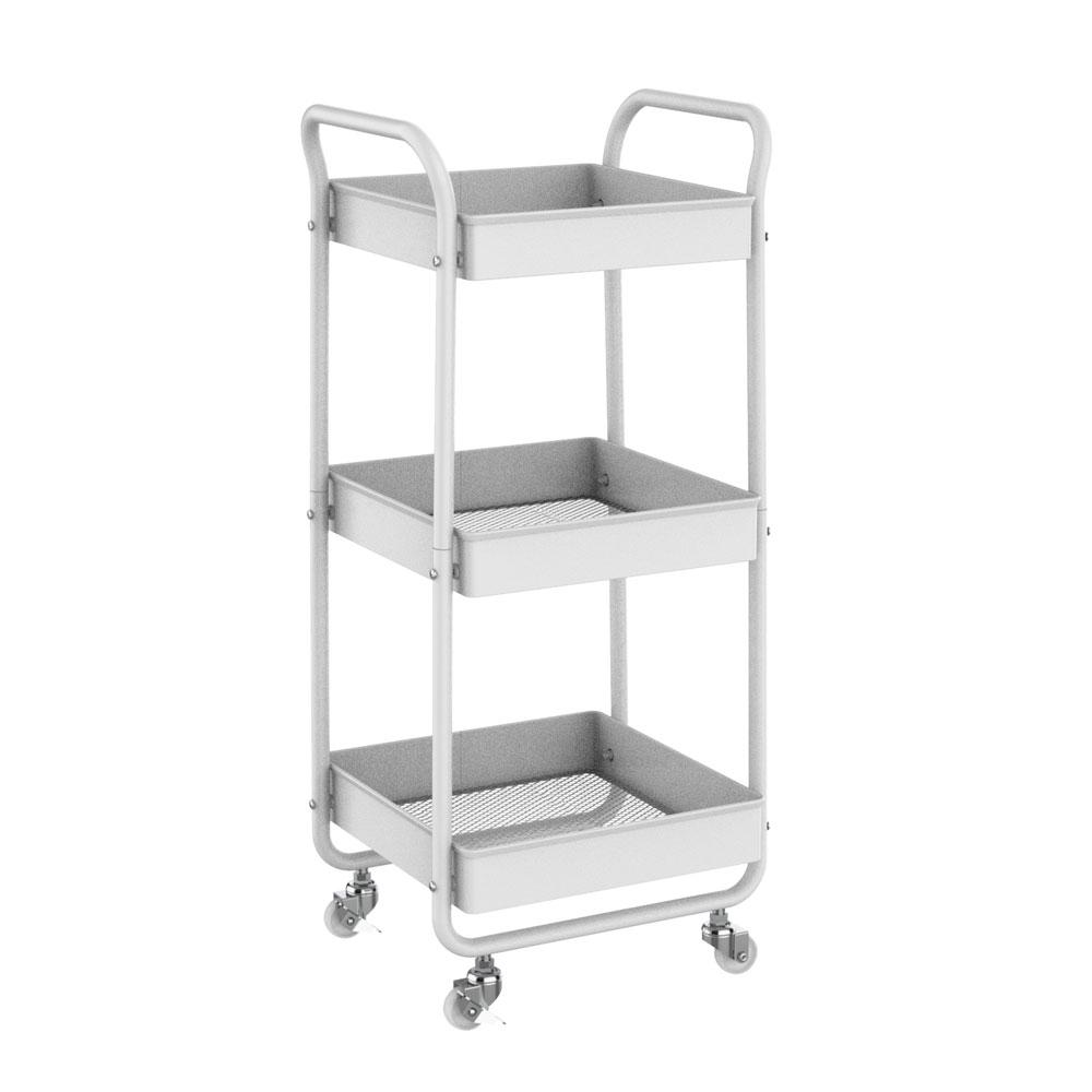 3-Tier Metal Utility Rolling Cart, Bathroom Supply Carts ...